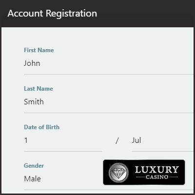 Luxury Casino Account Registration Form