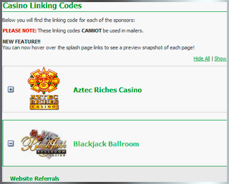 Rewards Affiliates - Linking Codes Example