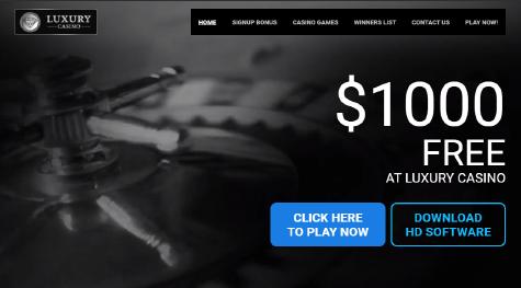 Luxury Casino main page navigation